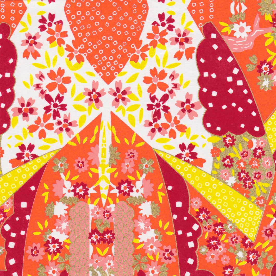 Yuzen Washi Wrapping Paper HZ-355 - Mirage Orange