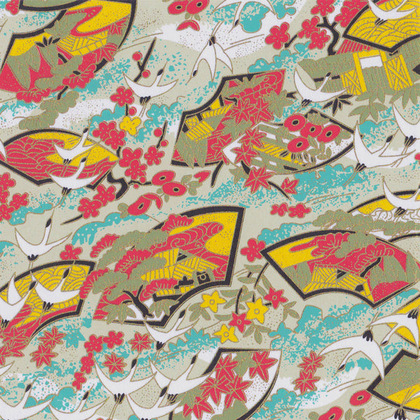 Yuzen Washi Wrapping Paper - Cranes & Floral Fans