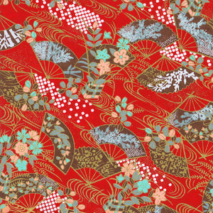 Yuzen Washi Wrapping Paper HZ-371 - Floral Fans & Flowing Water Red - washi paper - Lavender Home London