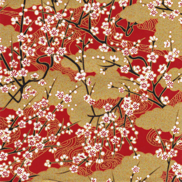 Pack of 20 Sheets 14x14cm Yuzen Washi Origami Paper HZ-383 - Cherry Blossom & Gold Clouds Red - washi paper - Lavender Home London