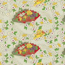 Yuzen Washi Wrapping Paper HZ-388 - Cherry Blossom & Floral Fans Pale Green