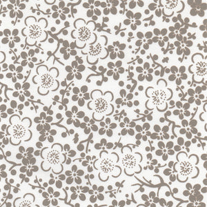 Japanese Decorative Paper Yuzen Washi Wrapping Paper Grey White Cute Lady Plum Flowers