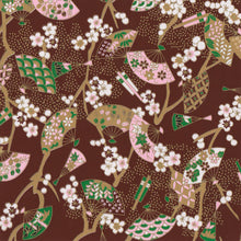 Yuzen Washi Wrapping Paper HZ-398 - Floral Fans Brown