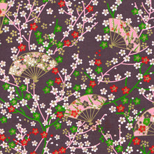 Yuzen Washi Wrapping Paper - Small Plum Flowers & Fans Purple