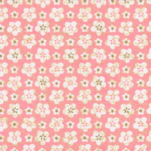 Yuzen Washi Wrapping Paper HZ-408 - White Plum Flowers Pink