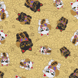 Yuzen Washi Wrapping Paper HZ-429 - Fortune Cats Gold