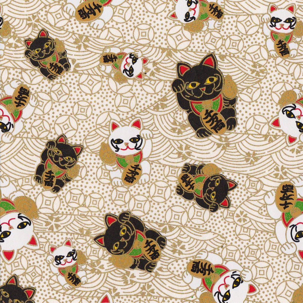 Yuzen Washi Wrapping Paper HZ-430 - Fortune Cats White (S) - washi paper - Lavender Home London