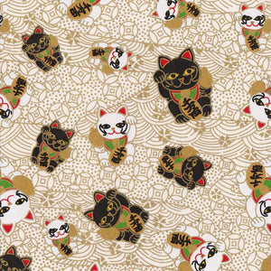 Pack of 20 Sheets 14x14cm Yuzen Washi Origami Paper HZ-430 - Fortune Cats White (S) - washi paper - Lavender Home London