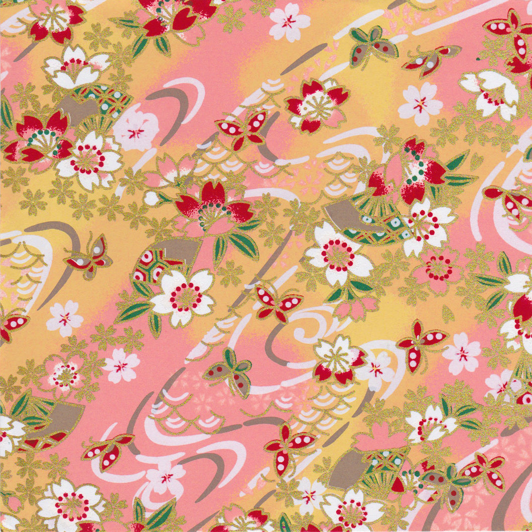 Yuzen Washi Wrapping Paper HZ-436 - Cherry Blossom & Butterflies