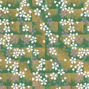 Pack of 20 Sheets 14x14cm Yuzen Washi Origami Paper HZ-470 - Cherry Blossom Green Shade - washi paper - Lavender Home London