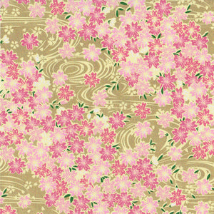 Yuzen Washi Wrapping Paper HZ-492 - Cherry Blossom & Flowing Water Gold - washi paper - Lavender Home London