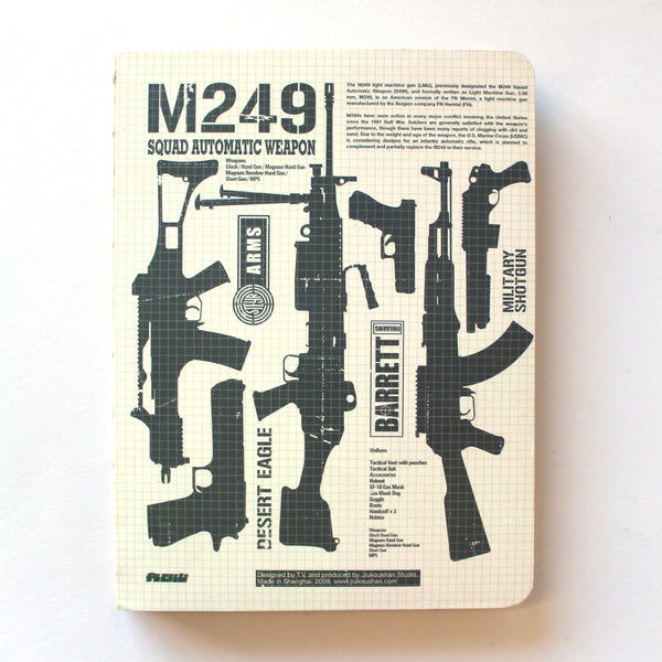 Soft Binding Brown Paper Notebook - M249 Squad Automatic Weapon