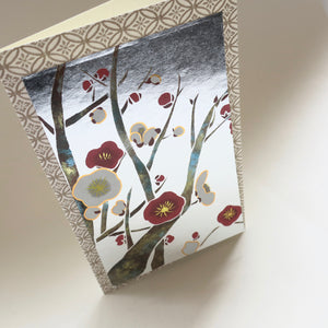 Japanese Art Greeting Card - Red and White Branching Plum Flowers - Cards - Lavender Home London