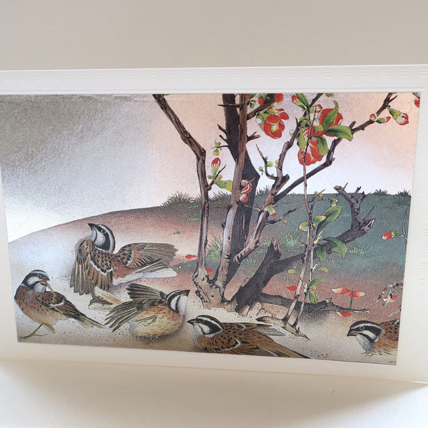 Japanese Art Greeting Card - Dancing White Crowned Sparrows