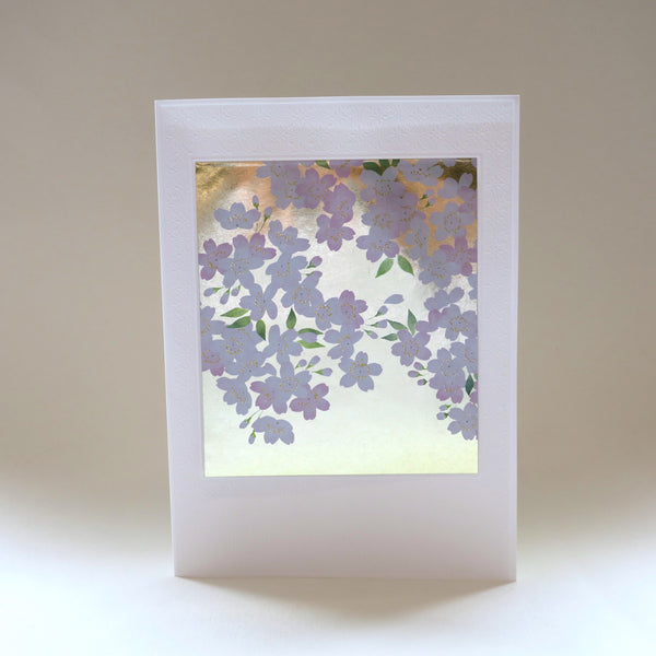 Japanese Art Greeting Card - Flowering Pink and White Sakura Branch
