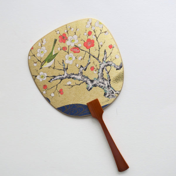 Uchiwa-fan Greeting Card - Bush Warbler on the Red and White Blooming Plum Tree - Cards - Lavender Home London