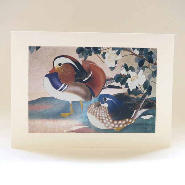 Japanese Art Greeting Card - Mandarin Ducks, bird illustration