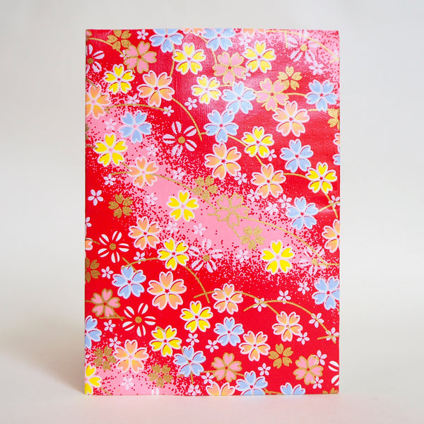 Japanese Yuzen Washi Card Holder, Red Cherry Blossom Pattern