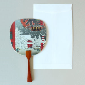Uchiwa-fan Greeting Card - Snowy City - Cards - Lavender Home London