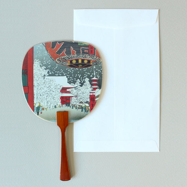 Uchiwa-fan Greeting Card - Snowy City