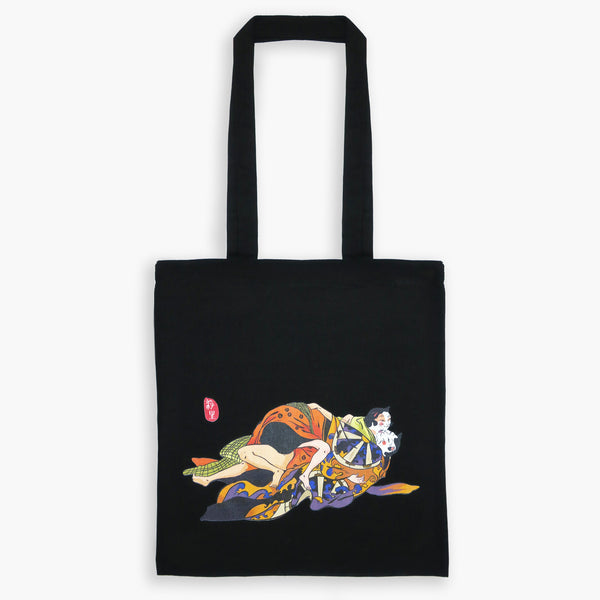 Original Japanese Art Ukiyo-e Tote Bag - Cat Lovers - Tote Bags - Lavender Home London