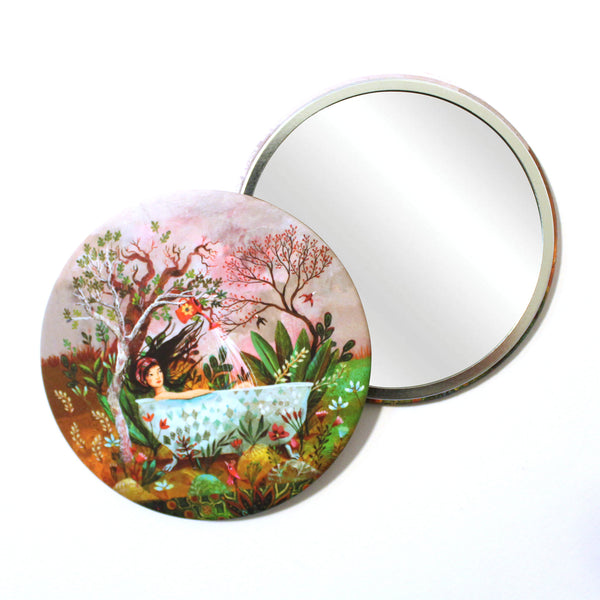 Round Pocket Makeup Mirror - Bath of Youth - Pocket Mirrors - Lavender Home London