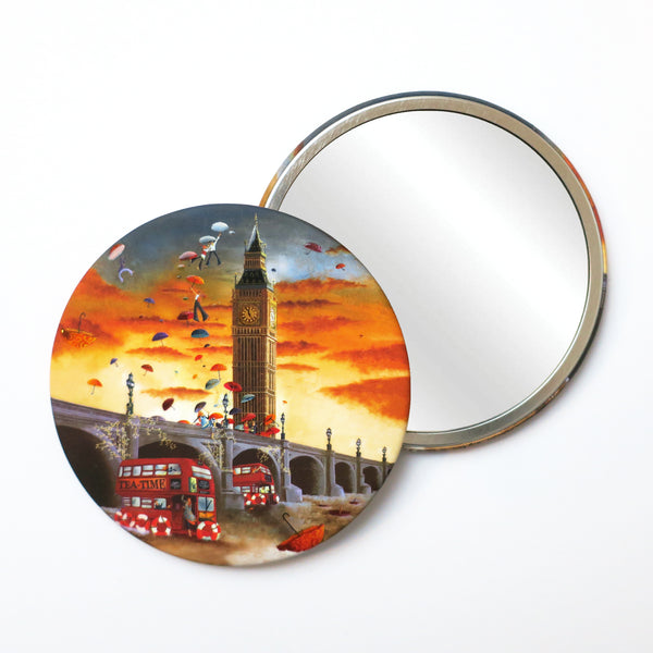 Pocket Mirror London Big Ben and Red Bus Illustration