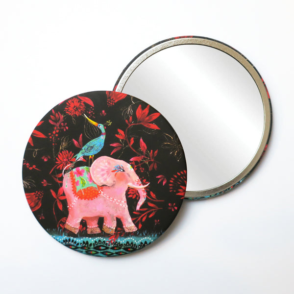 Round Pocket Makeup Mirror - The Blue Bird and Pink Elephant - Pocket Mirrors - Lavender Home London