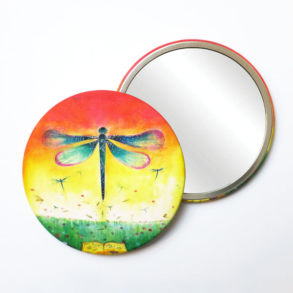 Round Pocket Makeup Mirror - Dragonflies - Pocket Mirrors - Lavender Home London