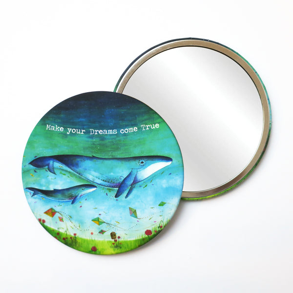 Round Pocket Makeup Mirror - Make Your Dreams Come True Whales - Pocket Mirrors - Lavender Home London