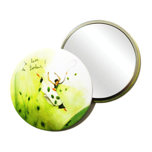 Round Pocket Makeup Mirror - Getting Up From Happiness - Pocket Mirrors - Lavender Home London