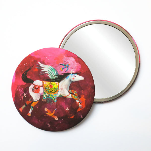 Round Pocket Makeup Mirror - Pegasus and Friends - Pocket Mirrors - Lavender Home London