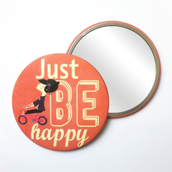 Round Pocket Makeup Mirror - Just Be Happy - Pocket Mirrors - Lavender Home London