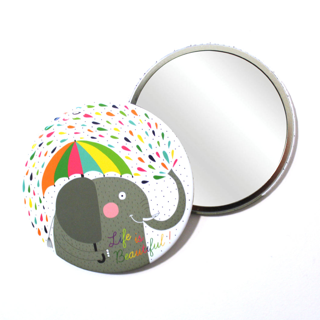 Round Pocket Makeup Mirror - Life Is Beautiful Elephant - Pocket Mirrors - Lavender Home London