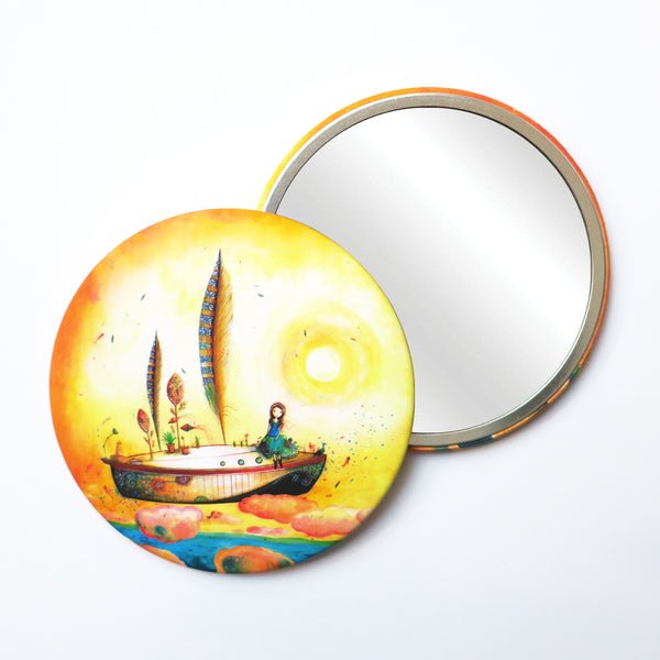 Round Pocket Makeup Mirror - The Feather Boat Flying in the Sky - Pocket Mirrors - Lavender Home London