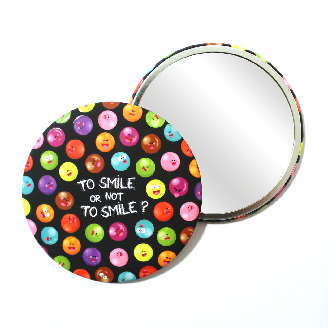 Round Pocket Makeup Mirror - To Smile or Not To Smile - Pocket Mirrors - Lavender Home London