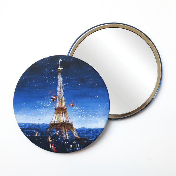 Round Pocket Makeup Mirror -  Eiffel Tower at Night - Pocket Mirrors - Lavender Home London
