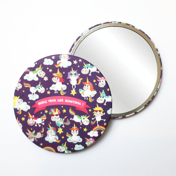 Round Pocket Makeup Mirror - Make Your Life Beautiful Unicorn - Pocket Mirrors - Lavender Home London