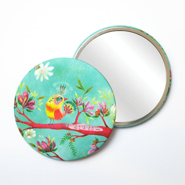 Round Pocket Makeup Mirror - What A Wonderful World Bird with Music and Flowers - Pocket Mirrors - Lavender Home London
