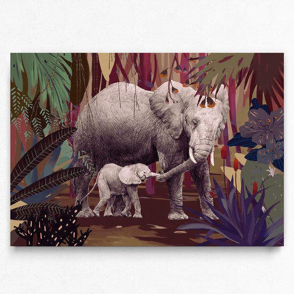 Nix Ren Original Art Print - Mum & Baby Elephants