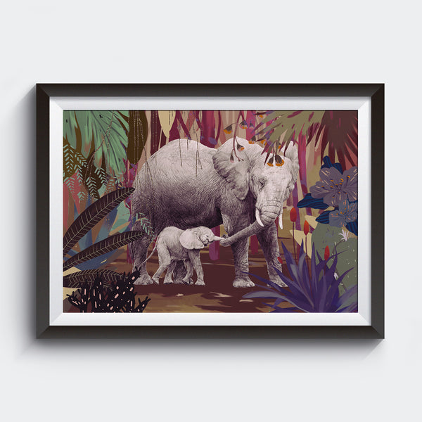 Nix Ren Original Art Print - Mum & Baby Elephants - Print - Lavender Home London