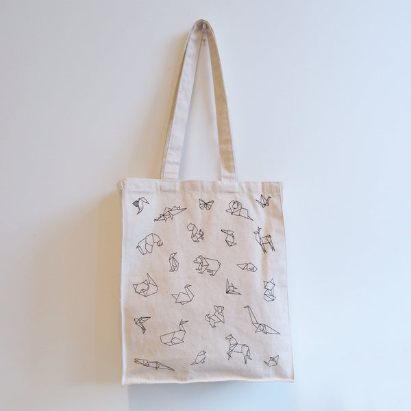 Geometric Origami Animals Canvas Tote Bag, Vegan and Environmentally Friendly Bad, Reusable Canvas Tote Bag