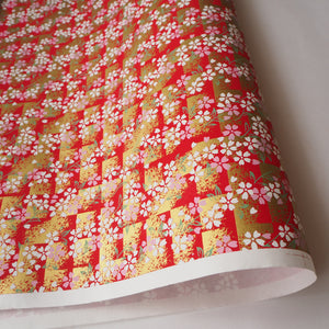 Yuzen Washi Wrapping Paper HZ-266 - Cherry Blossom Red Shade - washi paper - Lavender Home London