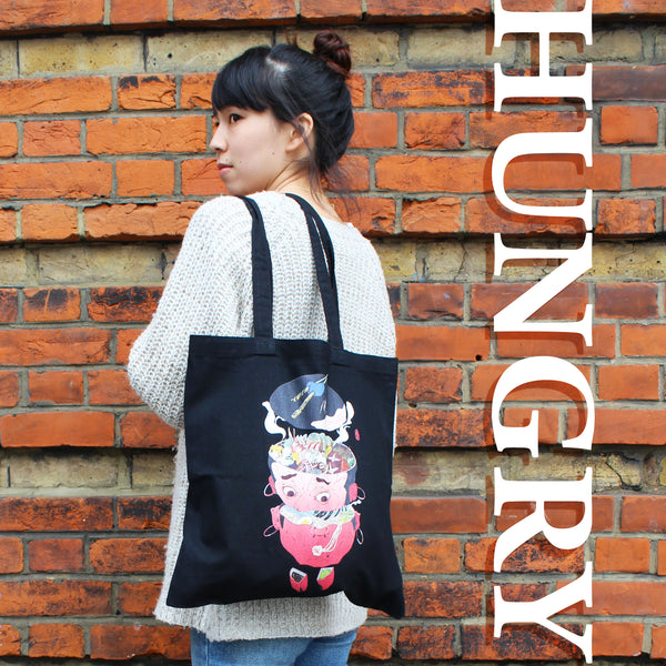 Art Print Cotton Tote Bag - HUNGRY