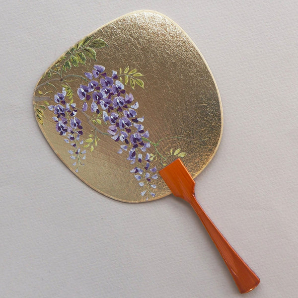 Uchiwa-fan Greeting Card - Japanese Wisteria Floribunda