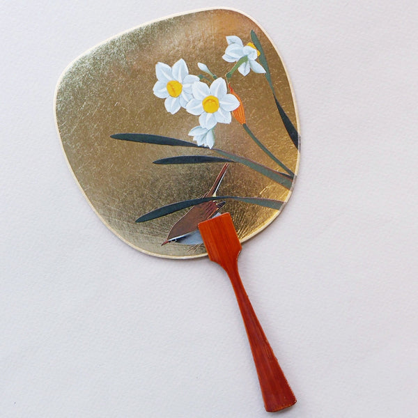 Uchiwa-fan Greeting Card - Daffodils