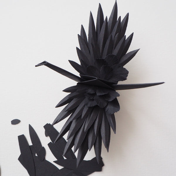 DIY Origami Feathered Crane Kit - Black (Makes 2 Cranes)