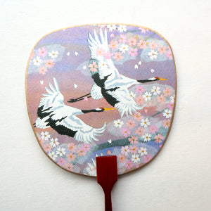 Uchiwa-fan Greeting Card - Pastel Cranes - Cards - Lavender Home London