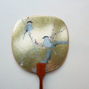 Uchiwa-fan Greeting Card - 2 Golden Eurasian Bullfinch Birds - Cards - Lavender Home London