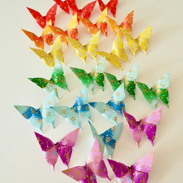 Pack of 12 Rainbow Origami Paper Butterflies - Small